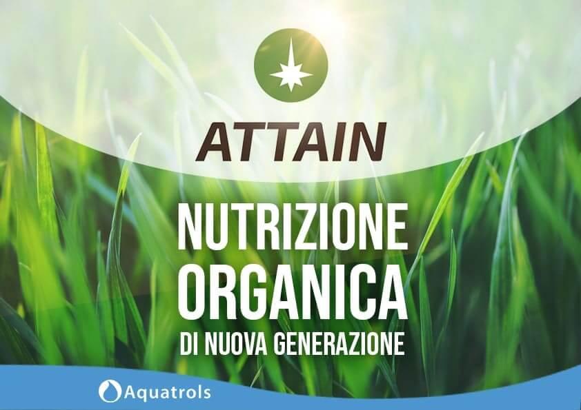ATTAIN è un composto liquido di matrice organica specifico per tappeti erbosi che nasce dalla tecnologia AQUAVITAᵀᴹ sviluppata da AQUATROLS.
