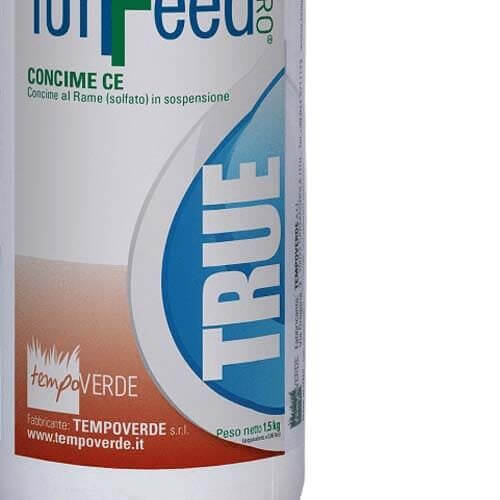 TurFeed Pro True è un concime al Rame (Cu) in sospensione con Zolfo (S).